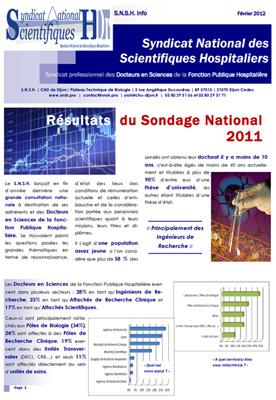 R sultats sondage 2012 syndicat national des - Grille indiciaire ingenieur hospitalier ...