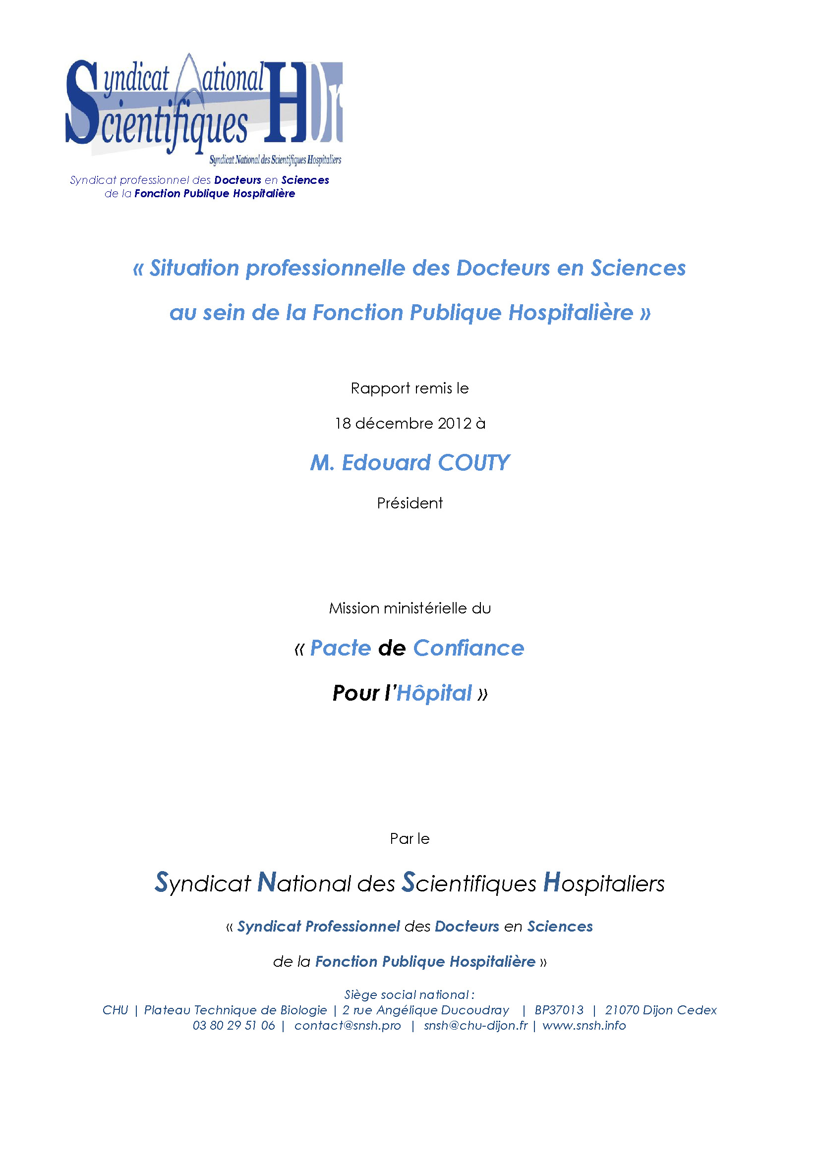 Pacte de Confiance - Rapport Ministériel