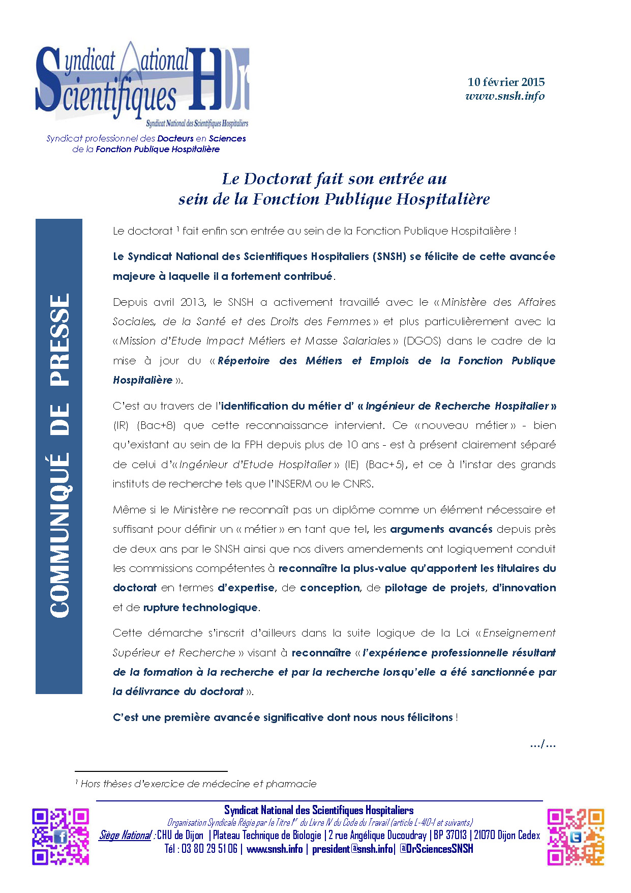 2015 02 10 LE DOCTORAT FAIT SON ENTREE DANS LA FPH
